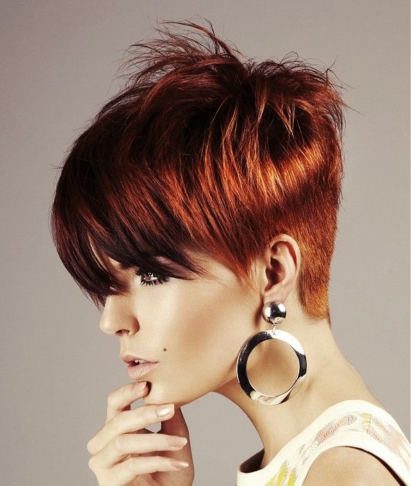 Red Straight Coloured Multi tonal Short Hair for Women PoPular Haircuts
