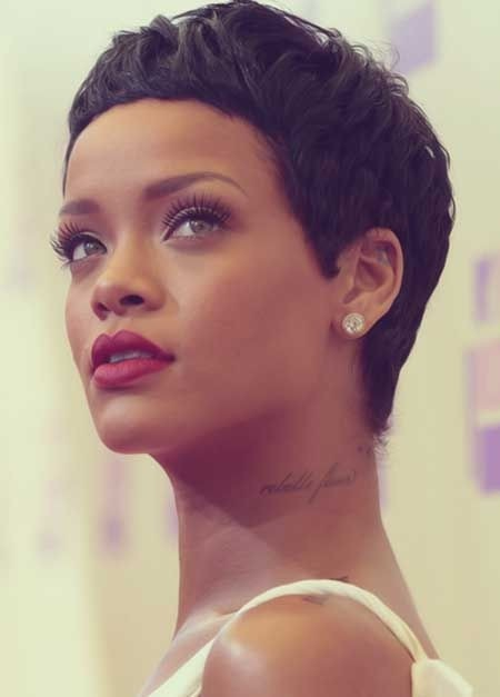 Rihanna Short Pixie Hair Cut