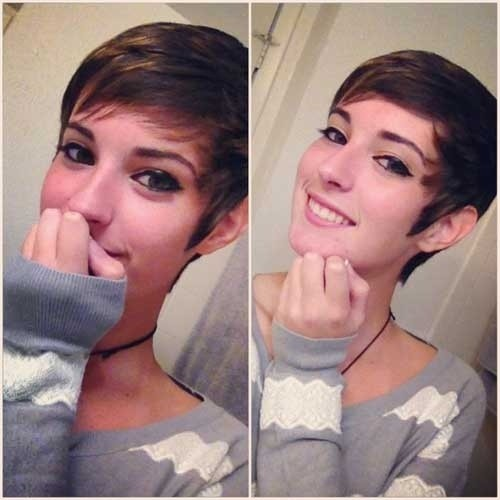 Short Pixie Haircut with Short Side Bangs. It Is Cute and Modern