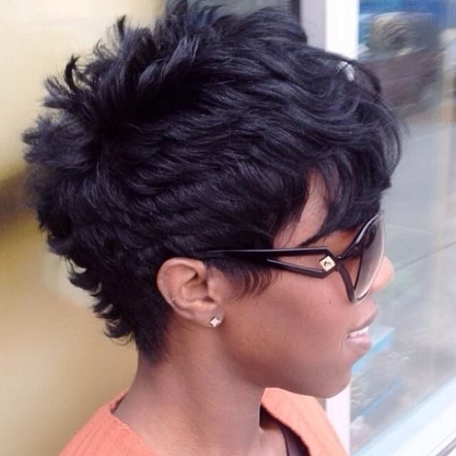 African American Women Hairstyles: Pixie with Long Bangs