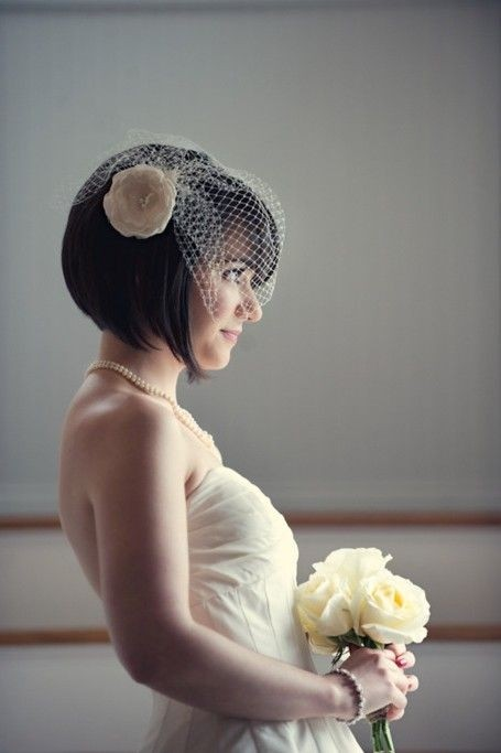 Bridesmaid Hairstyles: Side View of Short Straight Wedding Hairstyle