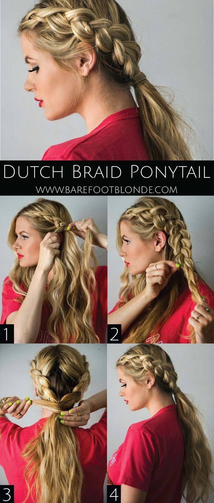 Dutch Braid Ponytail: Tutorial für lose geflochtene Frisuren für langes Haar