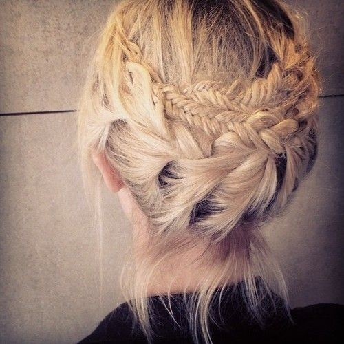 Elegant Double Braided Updo for Medium Hair