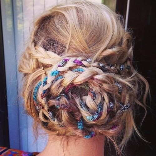 Messy Boho Braided Updo
