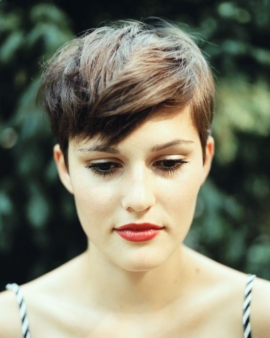 Pixie Hairstyles with Long Bangs