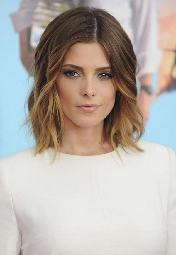 Ashley Greene with Beautiful Ombre Lob:  Medium Hairstyles for Wavy Hair