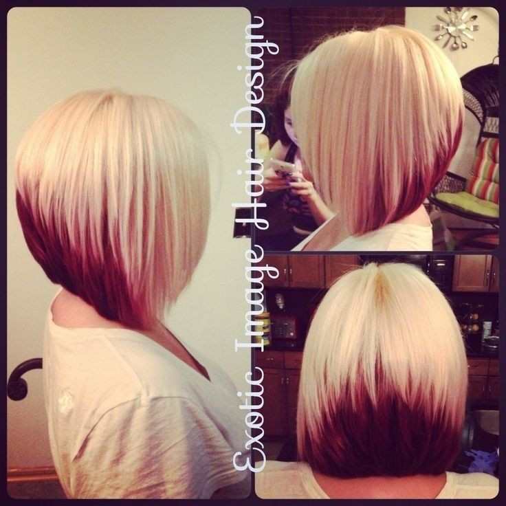 Block Coloring with Platinum Blonde & Red with Stacked Bob Cut