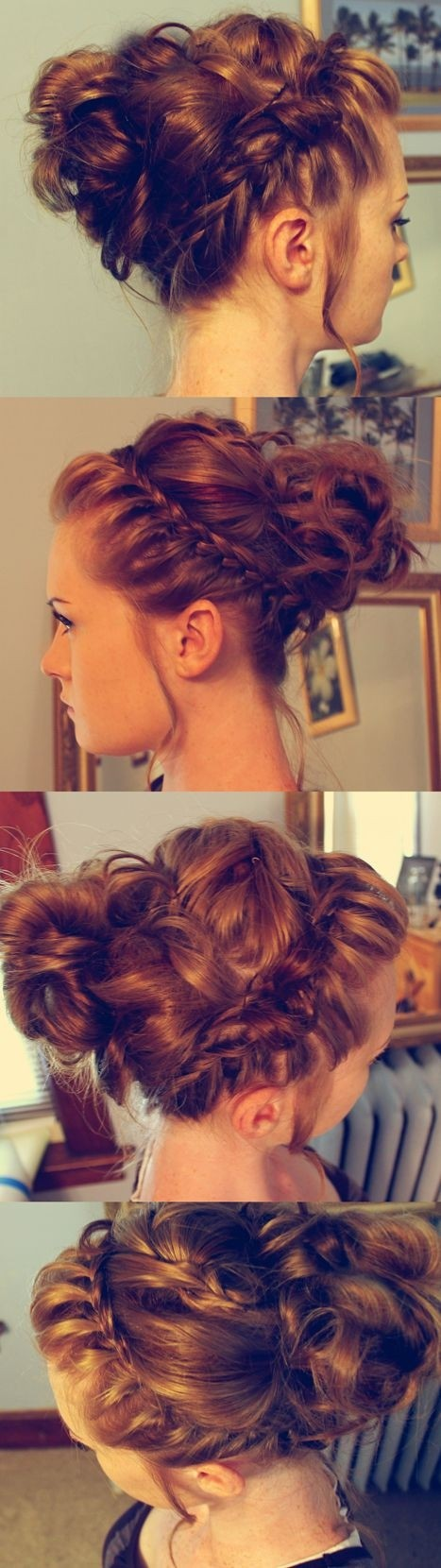 Braided Messy Bun Updo - 2015 Trendy Prom Hairstyles for Long Hair