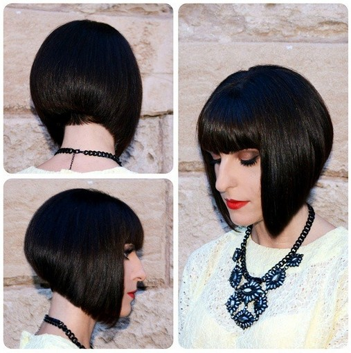 Cute easy short stacked bob haircuts for blunt bangs via