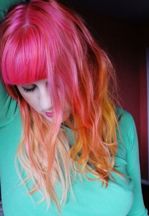 Cute Long Hairstyle with Blunt Bangs: Neon Ombre Hair