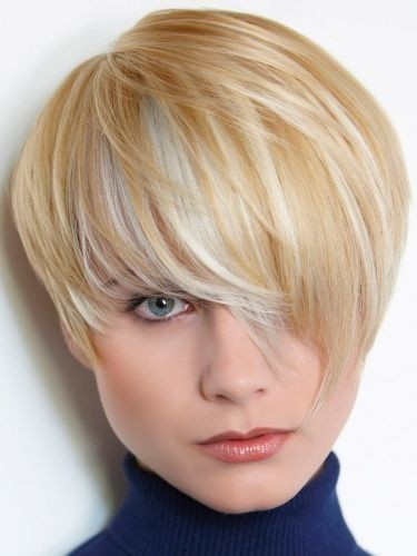 Cute Short Haircut with Long Bangs - Chic Hairstyles for Thin Hair
