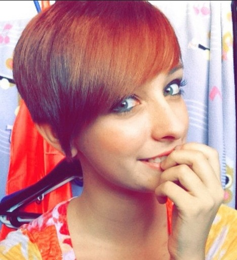 Cute Short Hairstyle with Side Swept Bangs