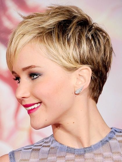 Jennifer lawrence Pixie Haircut: Ombre Short Hair