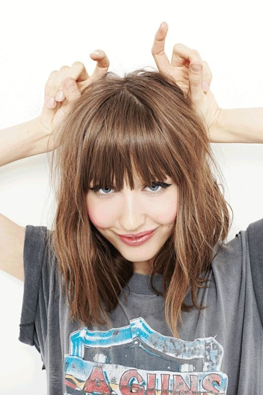 Medium Haircut with Blunt Bangs - Medium Length Hairstyles