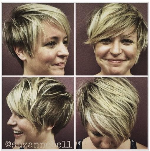 Rendetlen, Rakott frizurát Side Bangs: Rövid frizurák Szív arc formája