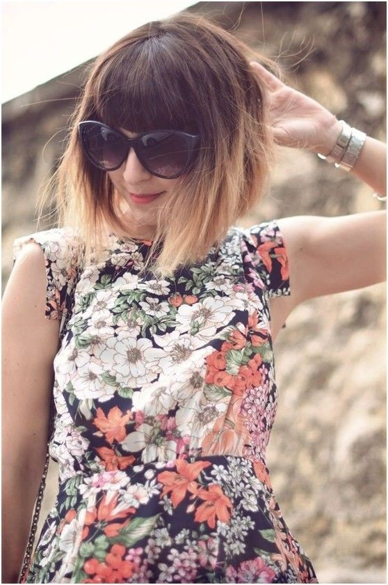 Pretty Ombre Hairstyles for Short Hair - Bob with Blunt Bangs