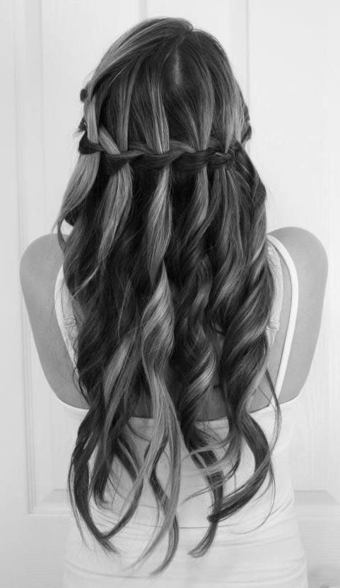 Prom Long Hairstyle with Waterfall Braid - Long Hairstyles Ideas 2015
