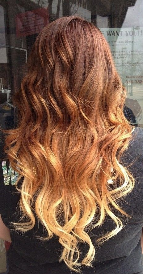 Red to Blonde Ombre Hair for Long Hair - Ombre Hair Color Ideas for 2015