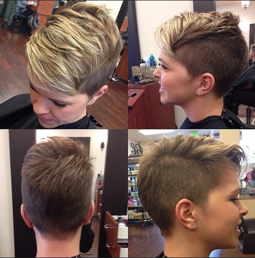 Shaved Hairstyles for Short Hair 2015: Layered Pixie Hair Cut
