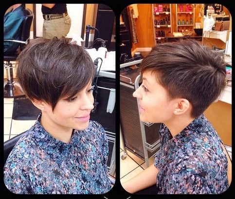 Short Pixie Haircuts with Side Long Bangs