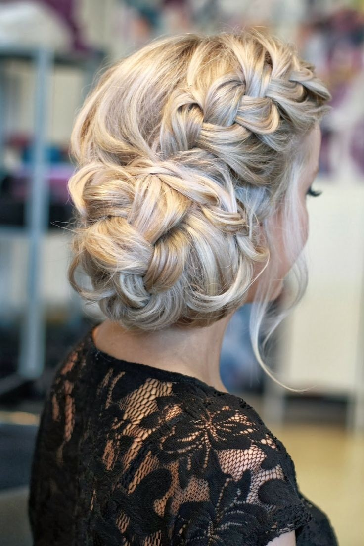 Side Updo with Loose Braid - Prom Hairstyle Ideas 2015