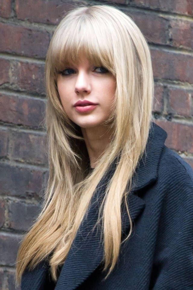 Taylor Swift's Long Hair Style with Short Bangs