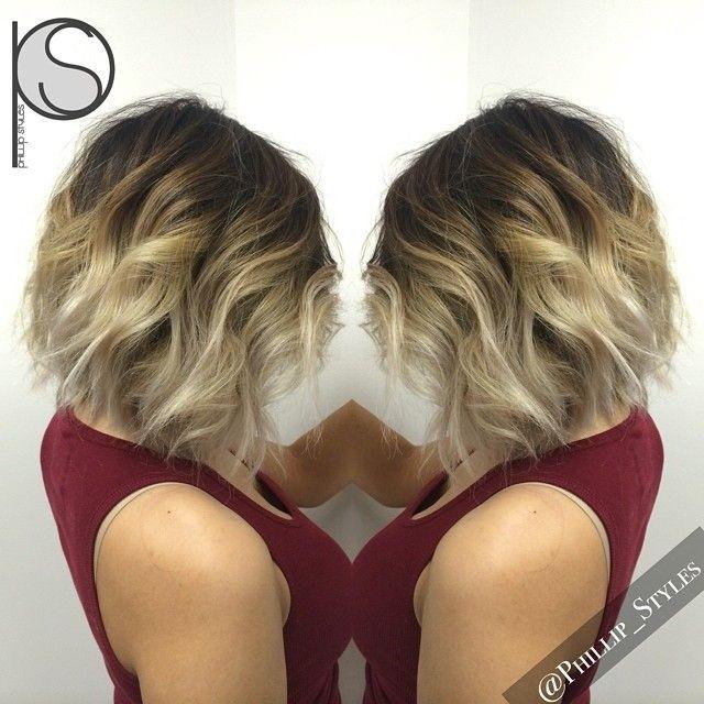 Textured, Wavy Bob Haircut: Platinum Blonde Ombré Hairstyle
