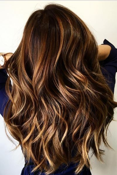 Balayage, Layered Wavy Long Hairstyles   Blonde And Cinnamon Balayage For  Chocolate Brown Hair