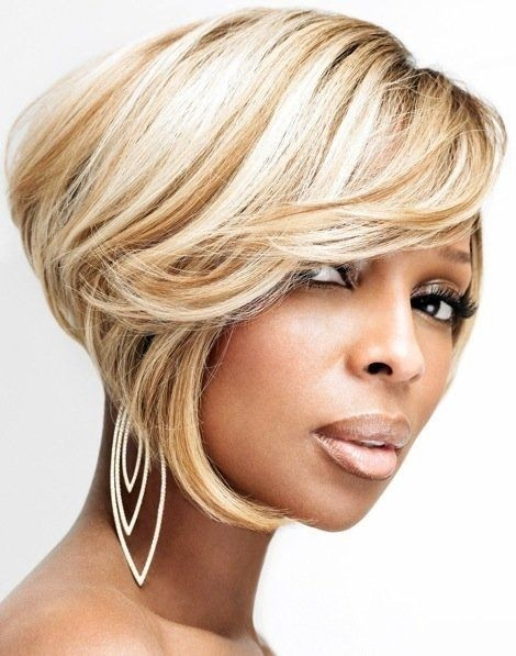 Blonde Inverted Bob Haircut with Side Swept Bangs - Short Hairstyles for Black Women