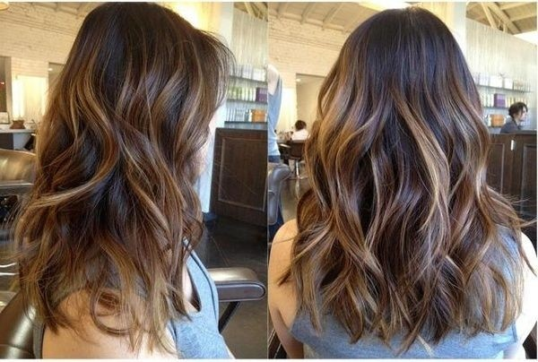 Dark Brown Hair With Caramel Highlights And Layered Cut