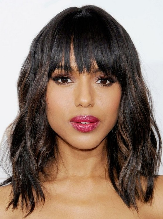 Medium Haircut with Blunt Bangs - Easy Hairstyle Ideas for Women