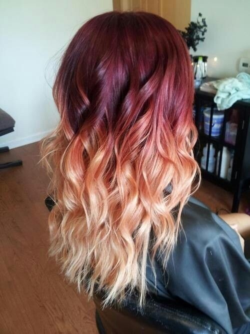 Red, Blonde Ombre Hair