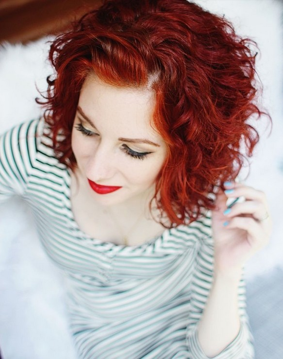 Everyday Hairstyle For Curly Hair : Medium curly hair style red styles for