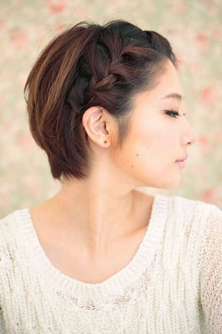 Short Hair with Braid - Straight Short Asian Hairstyles
