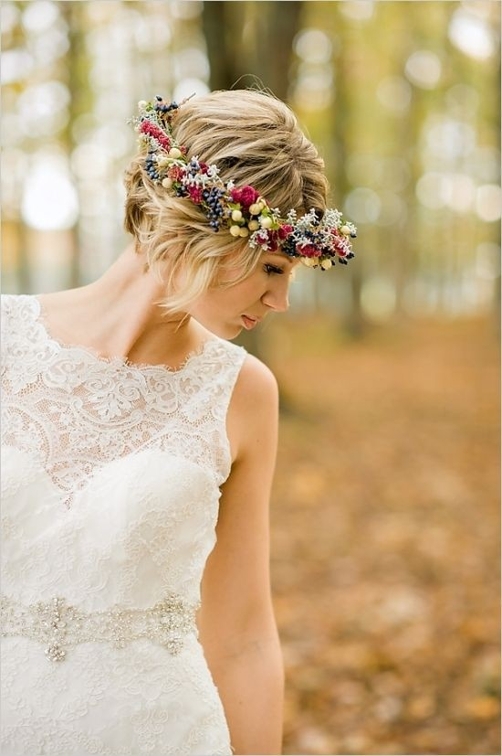 Updo Hairstyles with Floral Headband - Wedding Updos for Short Hair