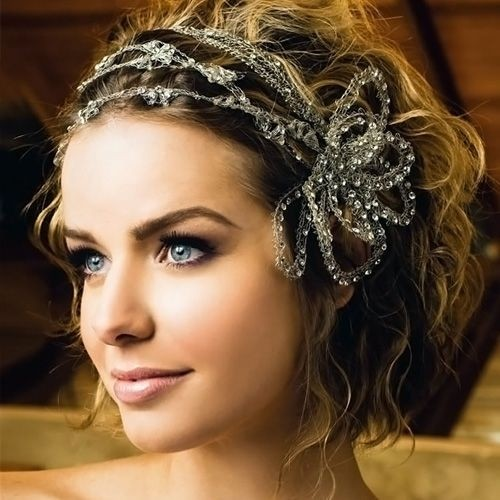 Wedding Short Updo Hairstyles with Hair Accessories