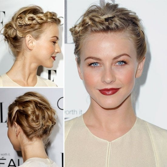 Braided Crown Updo Hairstyle for Short Hair