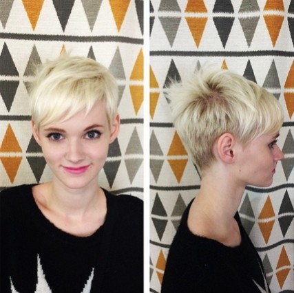 Cute Short Hairstyles with Bangs: Blonde Pixie Haircut 2015