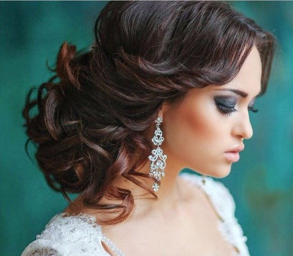 elegant wedding updo hairstyles for long hair via