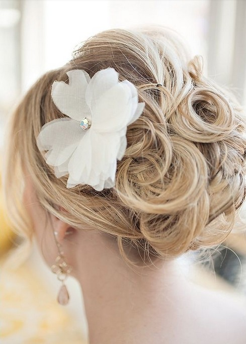 Flower or Embellishment Updo Hairstyles for Medium Hair