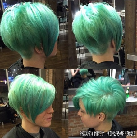 Green, Short Hair Style Ideas - Asymmetric Short Haircuts