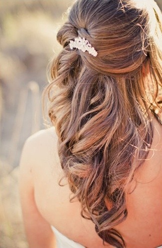 half up half down hairstyles for wedding long hair via