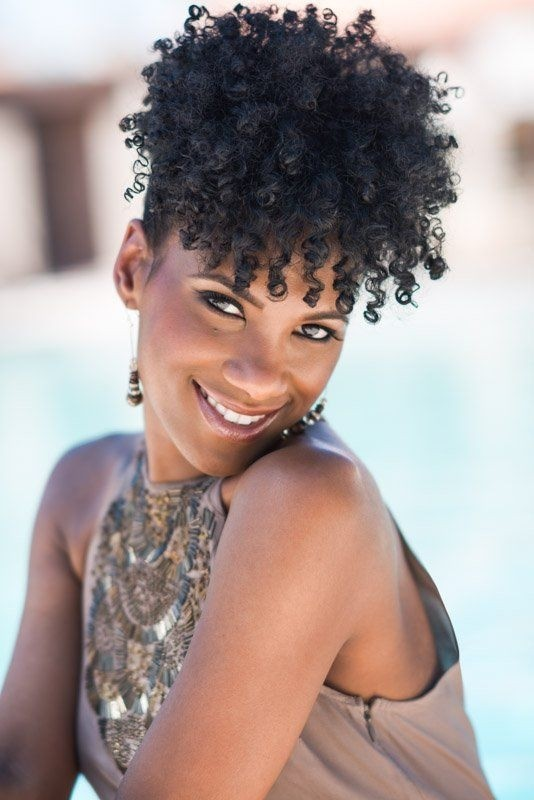 Lovely Natural Curly Hairstyle for Heart Face Shape - Short Afro Hairstyles
