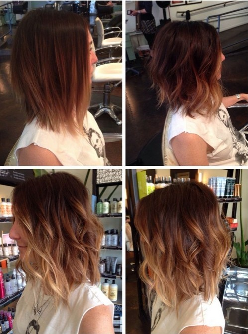 Messy, Wavy Long Bob Haircut - Ombre Hairstyle Ideas