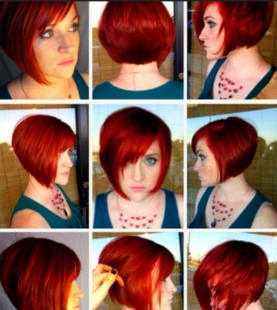 Red Bob Haircut: Short Straight Hairstyles with Bangs