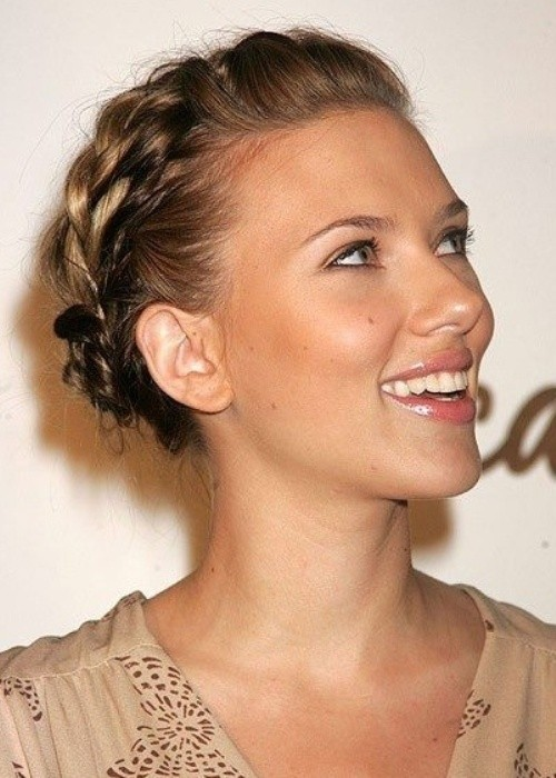Scarlett Johansson Hairstyle: Milkmaid Braid Updo for Short Hair