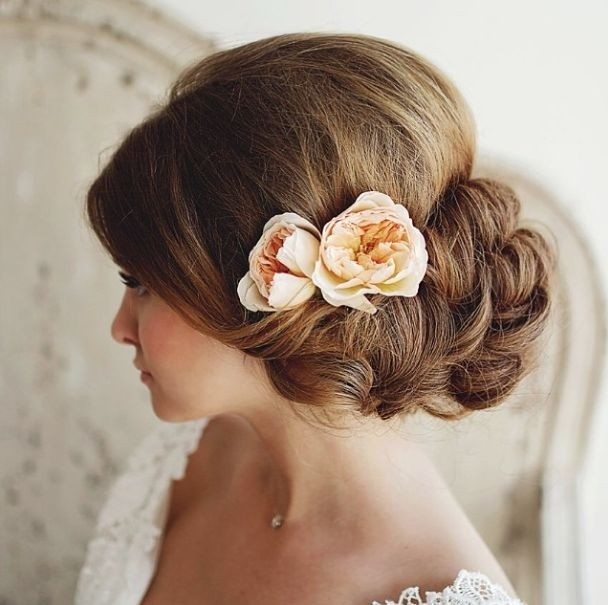 Side Updo Hairstyle For Wedding Via
