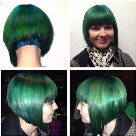 Stylish Green Bob Haircut