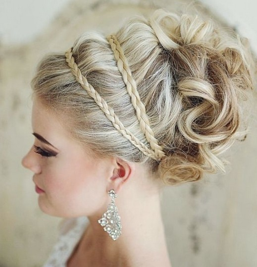 Updo Hairstyle with Braid - Prettiest Wedding Hairstyles 2015