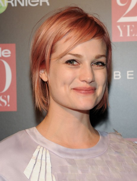 Alison Sudol Short Haircut - Straight Short Bob Hairstyle with Side Bangs